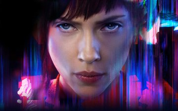 girl, look, hair, face, actress, ghost in the shell, scarlett johansson