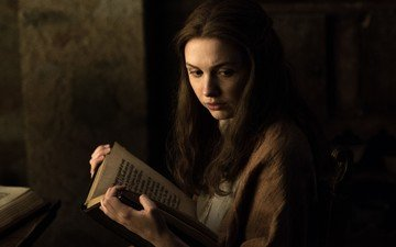 girl, look, hair, face, actress, book, the series, game of thrones, reading, gilly, hannah murray