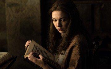 девушка, взгляд, волосы, лицо, актриса, книга, сериал, игра престолов, чтение, gilly, ханна мюррей