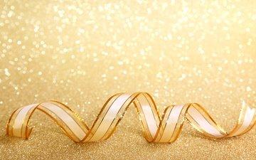 новый год, украшения, блеск, лента, рождество, золото, боке