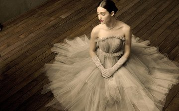 girl, pose, brunette, look, hair, face, actress, white dress, gloves, emmy rossum, bare shoulders