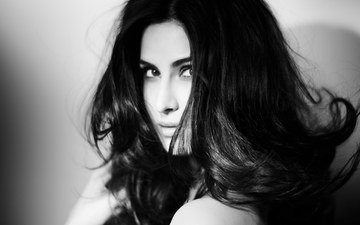 girl, portrait, look, black and white, hair, face, actress, katrina kaif