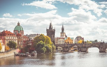 river, bridge, autumn, boats, architecture, building, prague, charles bridge, czech republic, the vltava river