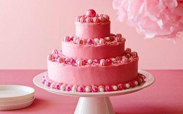 конфеты, розовый, торт, торты, многоярусный