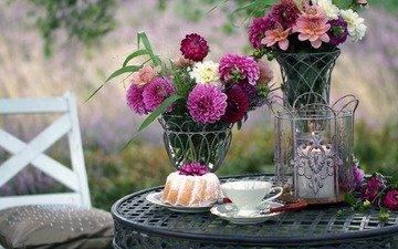 цветы, блюдце, букет, чашка, свеча, выпечка, столик, кекс, георгины