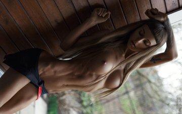 girl, pose, model, room, chest, photographer, sexy, linen, ass, tummy, brown hair, sports, ura pechen