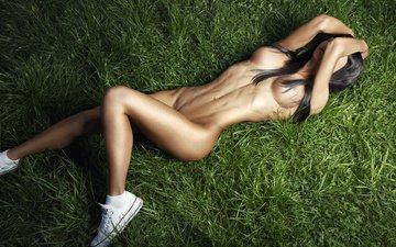 природа, девушка, поза, брюнетка, кеды, модель, фотограф, секси, белье, спортивная, ura pechen
