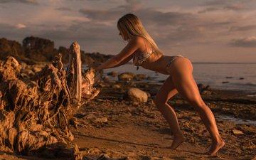 girl, sea, pose, blonde, sand, beach, model, alex love