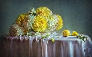 flowers, art, petals, lemon, painting, chrysanthemum, still life, tablecloth, pieter wagemans