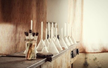 bottles, perfume, laboratory, bulb, flavors