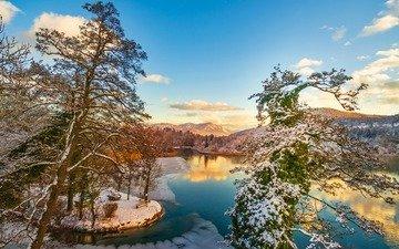 небо, облака, река, горы, природа, лес, зима, отражение