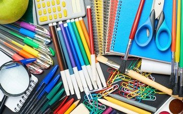 pencils, magnifier, scissors, notepad, clip, markers, the office