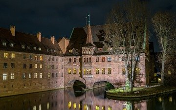 night, lights, castle, germany, nuremberg