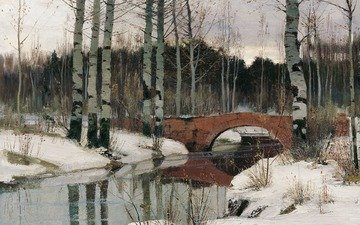 art, river, forest, landscape, birch, bridge, painting, thaw, richard bergolts