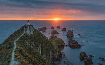 rocks, sunset, landscape, sea, lighthouse, cape