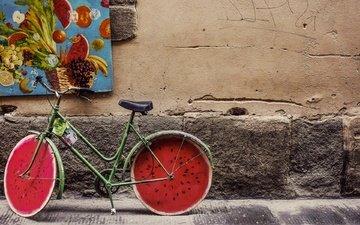 винтаж, ретро, фрукты, улица, арбуз, живопись, велосипед, бетон, диски