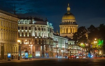 night, lights, the city, street, russia, saint petersburg