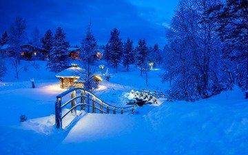 ночь, огни, природа, зима, мост, домики, деревня