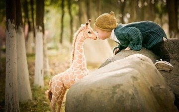 mood, toy, child, boy, giraffe