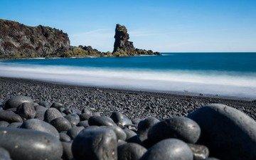 скалы, камни, пейзаж, море, пляж