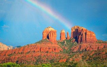 небо, скалы, пейзаж, каньон, радуга, долина монументов
