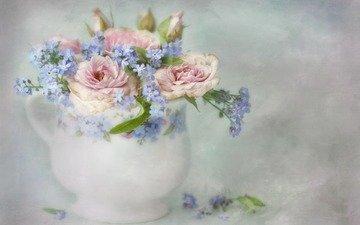 flowers, art, roses, bouquet, vase, forget-me-nots, painting, pieter wagemans, lizzy pe