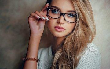 blonde, portrait, glasses, blue eyes, manicure, evgeny freyer