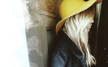 blonde, profile, actress, hat, ashley benson