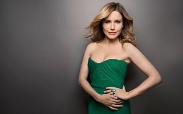 girl, smile, look, hair, face, actress, sophia bush, green dress, bare shoulders
