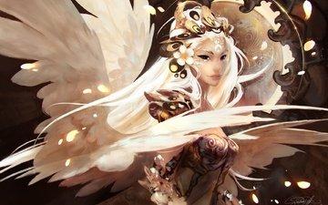 арт, девушка, взгляд, крылья, ангел, волосы, фантазии, gianluca rolli, jepun