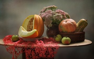flowers, apples, autumn, napkin, pumpkin, still life, melon, stonecrop