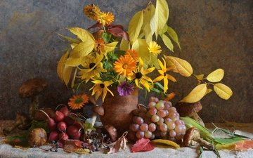 flowers, leaves, grapes, autumn, mushrooms, bouquet, still life, composition, radishes
