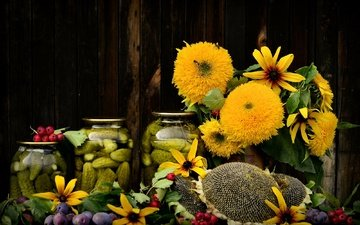 flowers, autumn, bouquet, sunflower, still life, plum, cucumbers, composition, preserving, rudbeckia