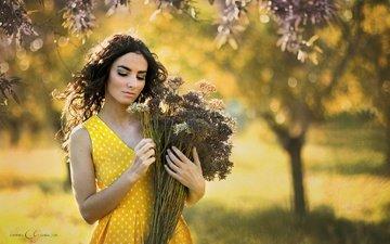 цветы, девушка, настроение, платье, волосы, букет, лицо, боке, закрытые глаза
