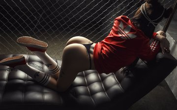 girl, pose, brunette, model, tattoo, photographer, sexy, linen, ass, sports, ura pechen