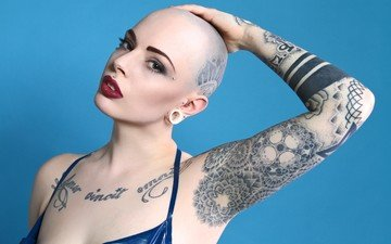 girl, look, tattoo, face, piercing, helene atsuko
