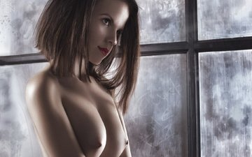 girl, look, model, chest, window, brown hair, ura pechen