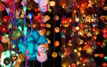design, background, snowman, shine, holiday, bright, garland, lamp