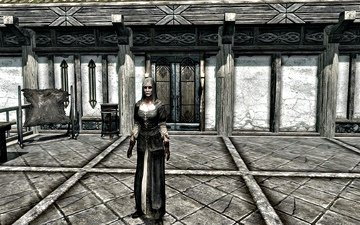 background, dress, hero, house, woman, porch, skyrim