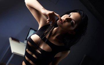 девушка, поза, брюнетка, модель, комната, грудь, фотограф, секси, белье, спортивная, ura pechen