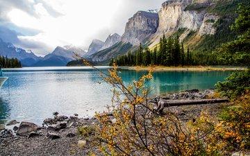 озеро, горы, скалы, канада, национальный парк джаспер, остров спирит, озеро малайн