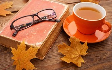 leaves, mood, autumn, glasses, cup, tea, book