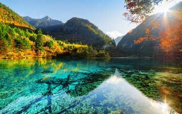 the sky, trees, lake, mountains, rocks, the sun, forest, autumn, china, reserve, jiuzhaigou