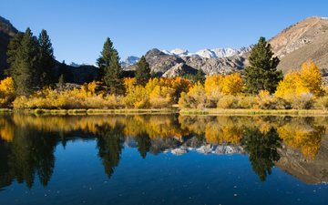 the sky, trees, water, lake, mountains, nature, shore, reflection, autumn