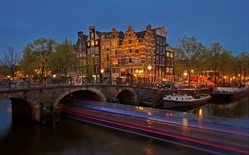 night, lights, bridge, channel, home, netherlands, amsterdam
