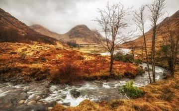 облака, деревья, река, горы, осень, шотландия, северо-шотландское нагорье