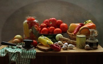 kitchen, vegetables, tomatoes, still life, pepper, garlic, spices