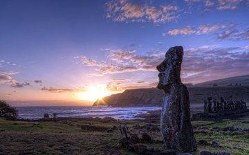 the sky, clouds, sunset, easter island, chile, rapa nui, image