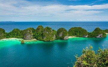 clouds, water, rocks, nature, landscape, sea, beach, summer, islands, tropics, chile, limestone, shrubs