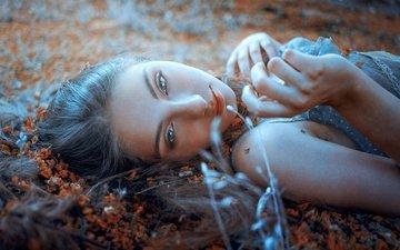 девушка, лето, взгляд, волосы, губы, лицо, отдых, estival